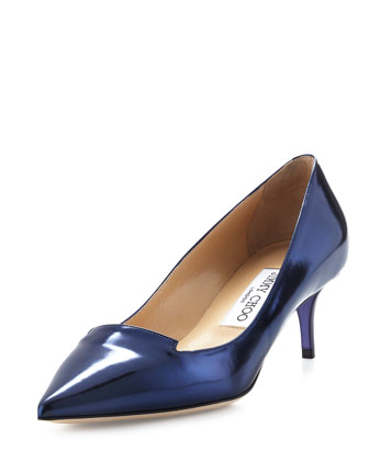 Allure Metallic Kitten-Heel Pump, Denim