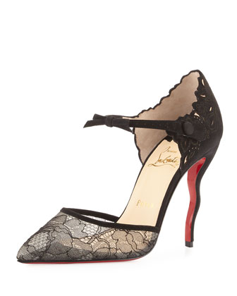 Magicadiva Lace/Suede Red Sole Pump, Black