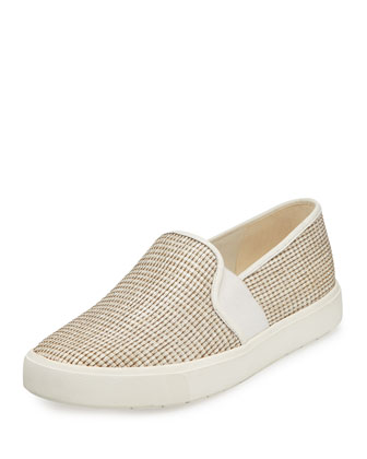 Blair-5 Woven Leather Skate Sneaker, Natural
