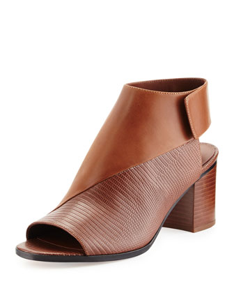 Julianna Open-Toe Leather Bootie, Saddle