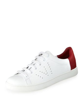 Varin Leather Low-Top Sneaker, Plaster/Berry