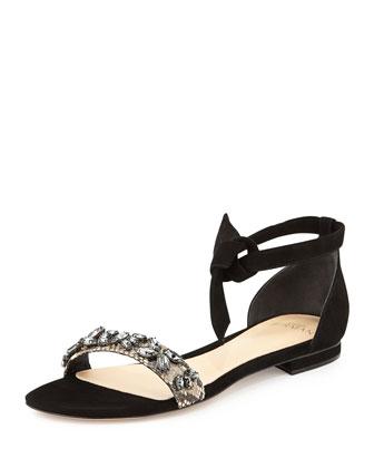 Clarita Glam Suede/Python Sandal, Black/Natural