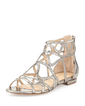 New Melody Caged Python Sandal, Specchio Graphite