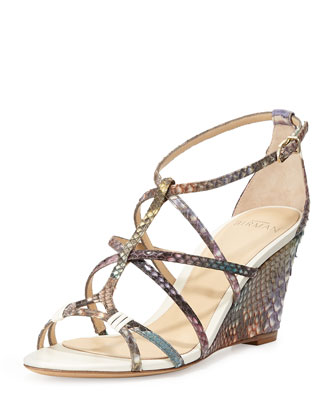 Mallica Python Wedge Sandal, Acquarelie/Ivory