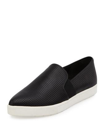 Pierce-2 Perforated Leather Skate Sneaker, Black