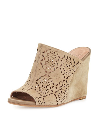 Anita Laser-Cut Wedge Mule, Cement