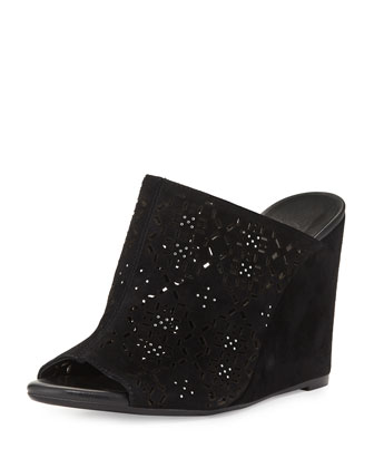 Anita Laser-Cut Wedge Mule, Black