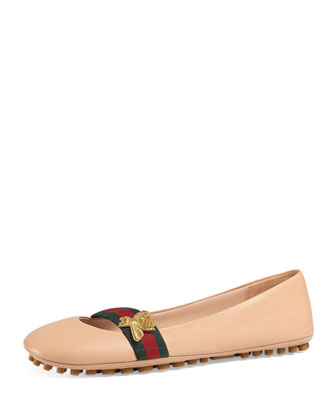 Bayadere Leather Web Ballerina Flat, Nude