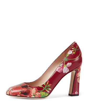 Marine Bloom-Print Leather Pump, Romantic Cerise