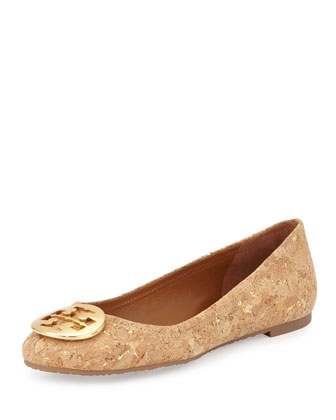 Reva Cork Ballerina Flat, Natural/Golden