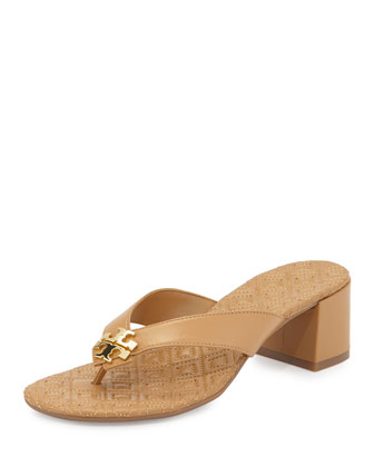 Maybell Block-Heel Thong Sandal, Blonde/Golden