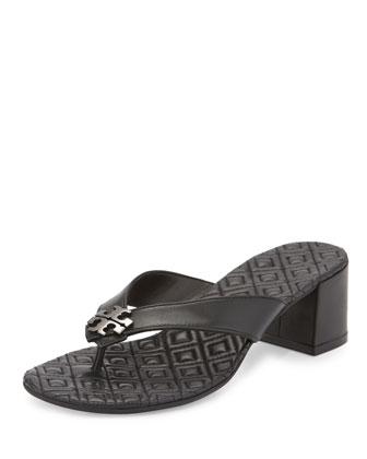 Maybell Block-Heel Thong Sandal, Black/Pewter