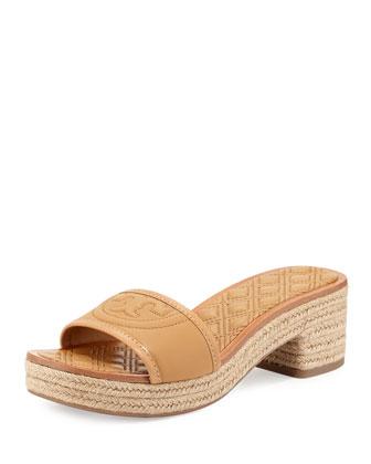 Fleming Low-Heel Espadrille Slide Sandal, Blond