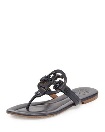Miller 2 Logo Leather Flat Sandal, Bright Navy