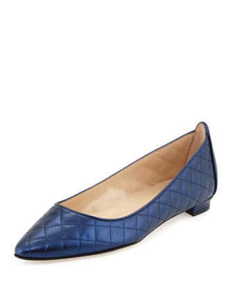 Abat Quilted Pointed-Toe Flat, Navy Metallic