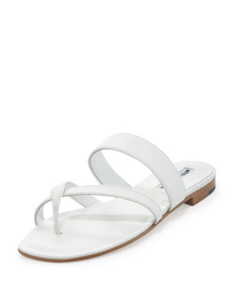 Susa Leather Low-Heel Sandal, White