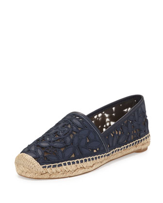 Rhea Lace-Mesh Espadrille, Bright Navy