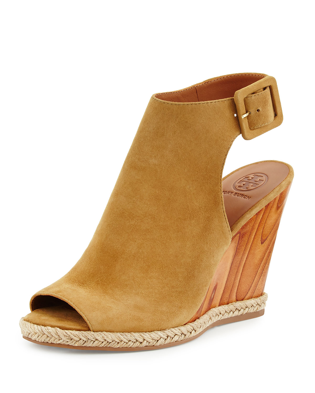 Raya Suede Wedge Sandal, Raw Umber, Women's, Size: 10B/40B - Tory Burch