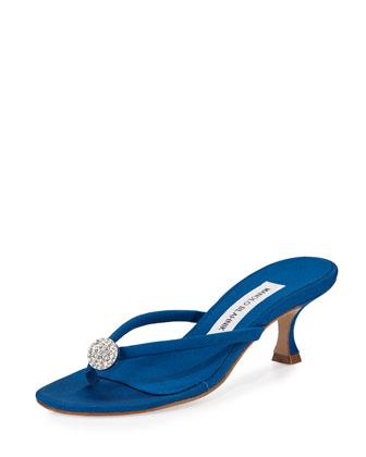 Dole Embellished Thong Sandal, Blue