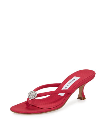 Dole Embellished Thong Sandal, Pink