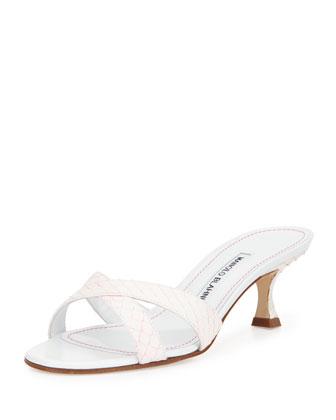 Callamu Snakeskin Slide Sandal, White