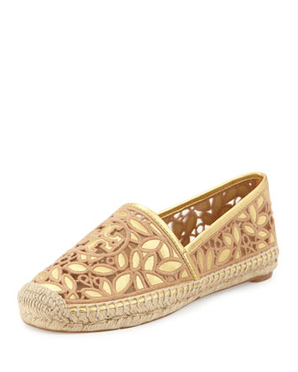 Rhea Metallic Espadrille Flat, Gold/Natural Blush