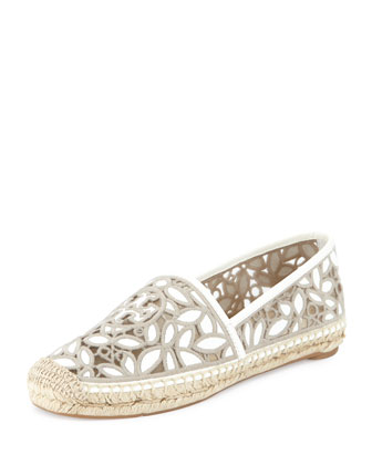Rhea Lace-Mesh Espadrille, Ivory/Cement