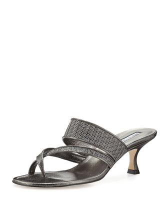 Susametal Woven Thong Sandal, Anthracite