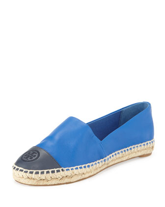 Colorblock Cap-Toe Espadrille, Jelly Blue/Tory Navy