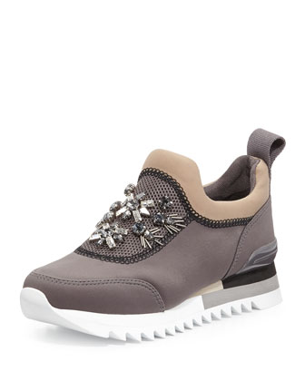 Rosas Embellished Slip-On Runner Sneaker, Storm Cloud/French Gray
