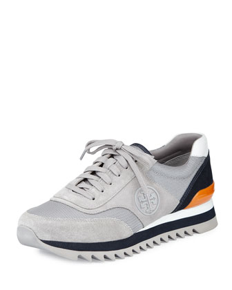 Sawtooth Logo Trainer Sneaker, Gray/White/Tory Navy