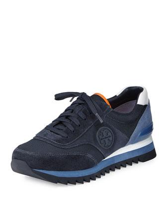 Sawtooth Logo Trainer Sneaker, Tory Navy/White/Laguna Blue