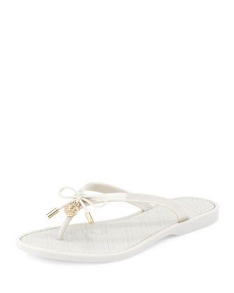 Jelly Bow Logo-Charm Thong Sandal, Cement