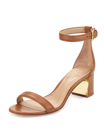 Cecile 55mm Leather City Sandal, Peanut Butter