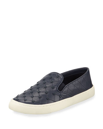 Quilted Logo-Stud Slip-On Sneaker, Bright Navy