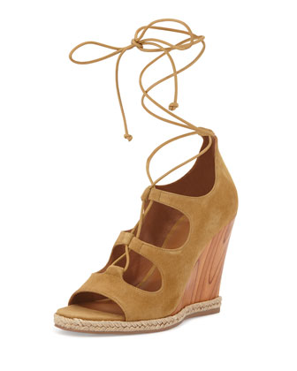 Raya Suede Lace-Up Wedge Sandal, Raw Umber