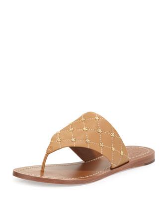 Quilt-Stitch Studded Thong Sandal, Blond/Ecru