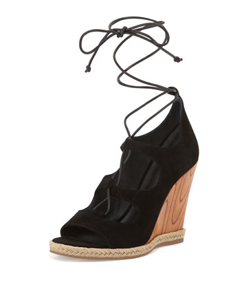 Raya Suede Lace-Up Wedge Sandal, Black