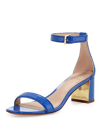 Cecile Patent City Sandal, Blue Macaw