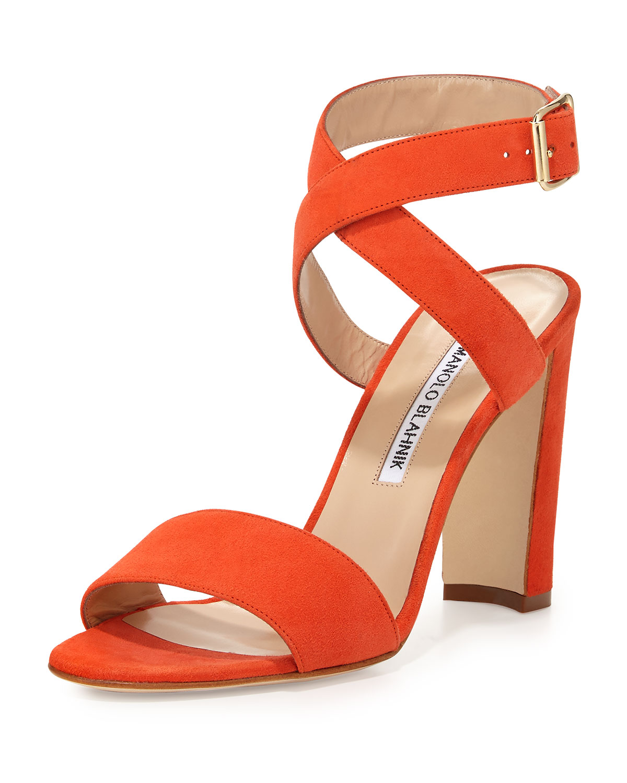 Manolo Blahnik Tondala Suede Ankle-Wrap Sandal, Orange, Size: 39.5B/9.5B