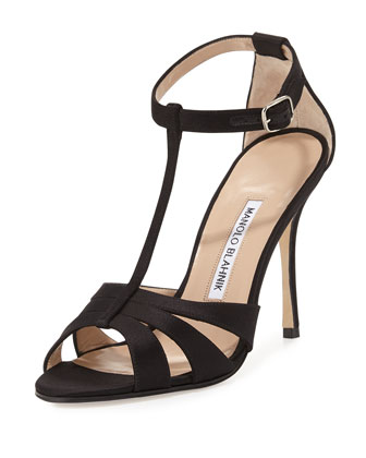 Dioniga Satin 105mm Sandal, Black