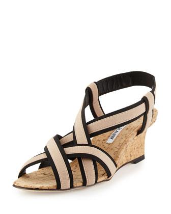 Lasti Elastic Crisscross Wedge Sandal, Nude/Black