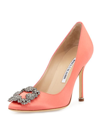 Hangisi Satin 105mm Crystal-Toe Pump, Coral