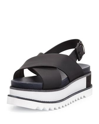 Gloriette Crisscross Platform Sandal, Black