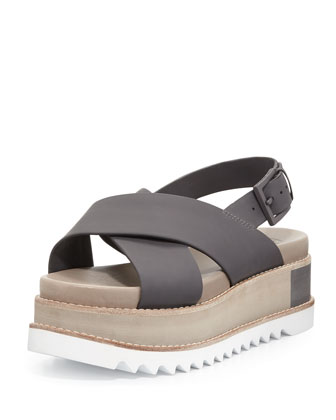 Gloriette Crisscross Platform Sandal, Dark Storm Cloud