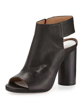 Leather Open-Toe Cone-Heel Bootie, Black