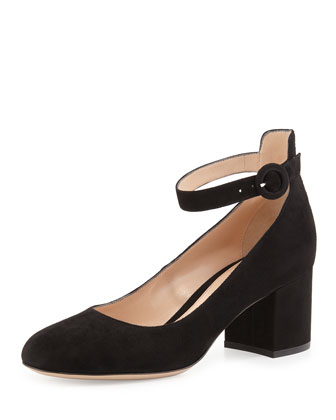 Suede Ankle-Strap 60mm Pump, Black