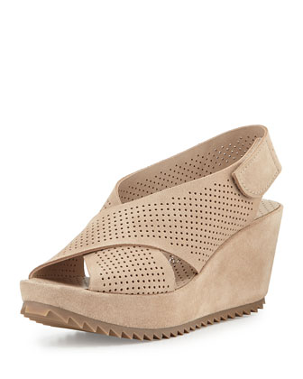 Frigg Perforated Crisscross Wedge Sandal, Sirocco