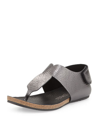 Julia Metallic T-Strap Sandal, Anthracite