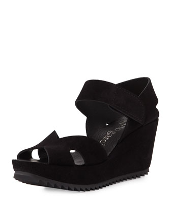 Fairly Suede Wedge Sandal, Black